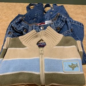 Boys 12-month denim and sweater four-piece lot